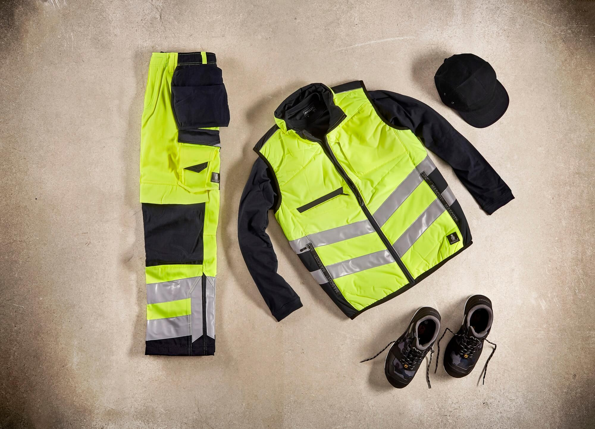 Traffic Vest & Trousers with kneepad pockets and holster pockets  - Fluorescent yellow - Collage