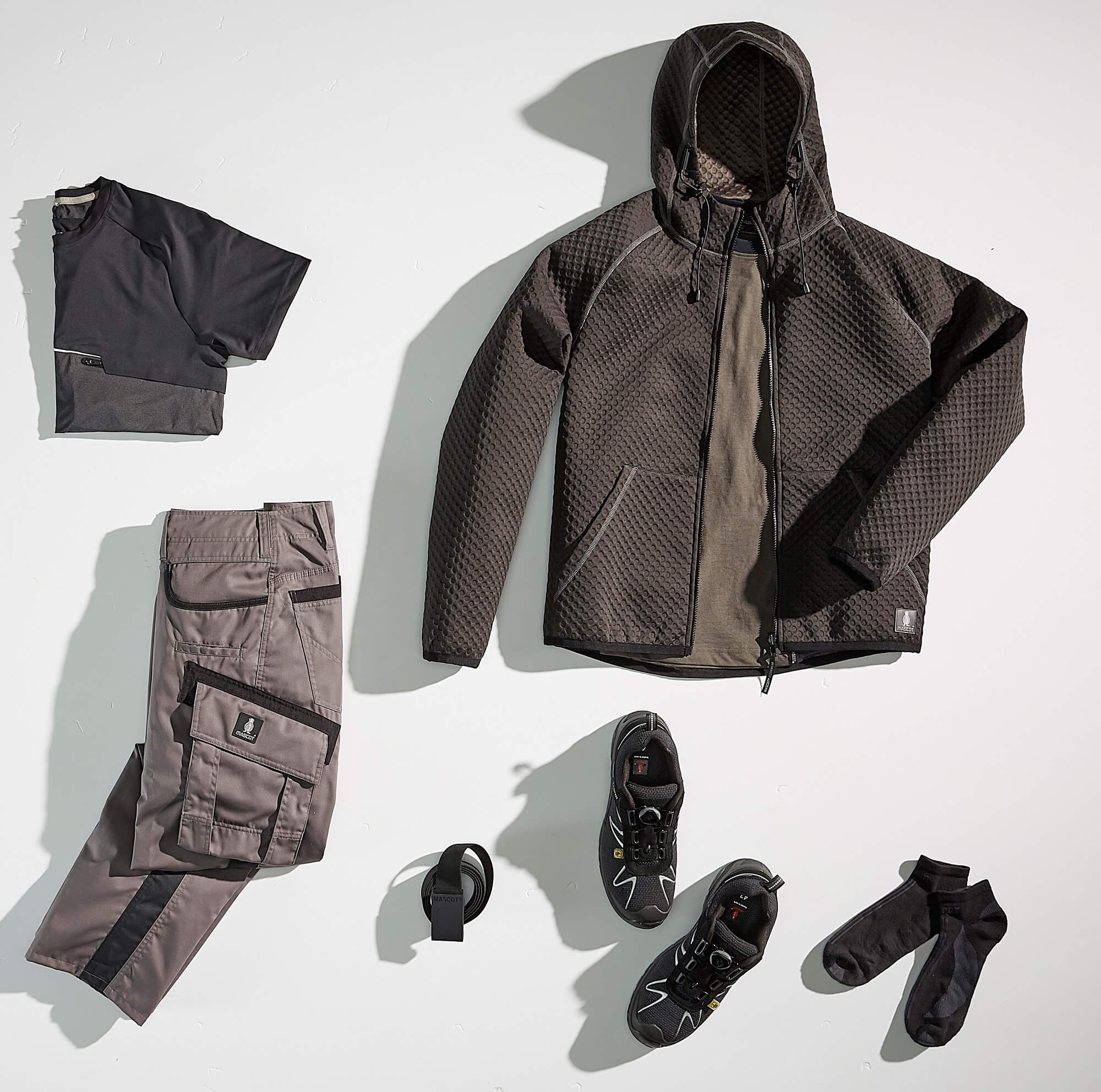 Collage - Hoodie, T-shirt & Work Trousers - Grey