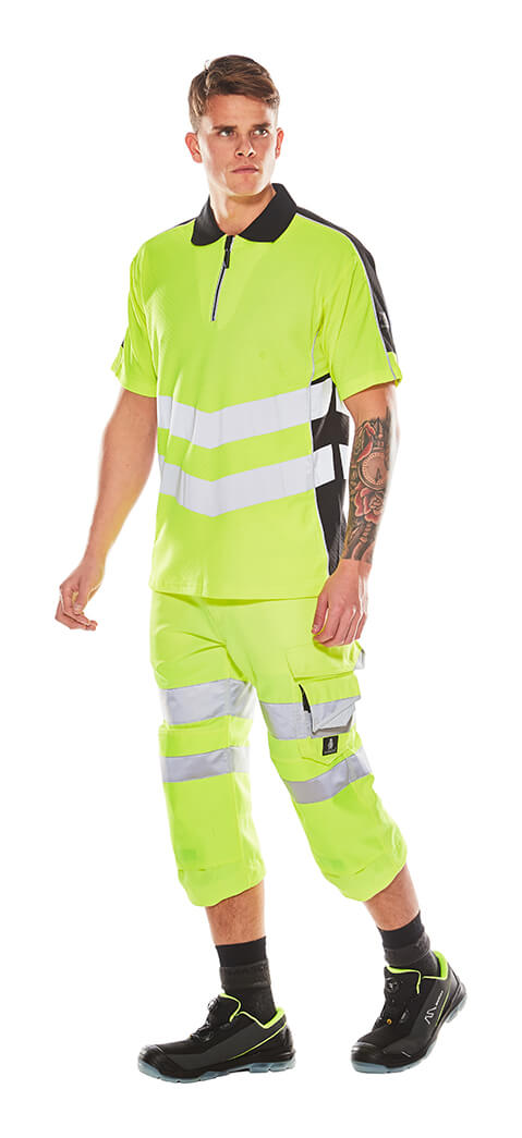 MASCOT® SAFE SUPREME Hi-vis ¾ Trousers & Polo shirt - Fluorescent yellow - Model