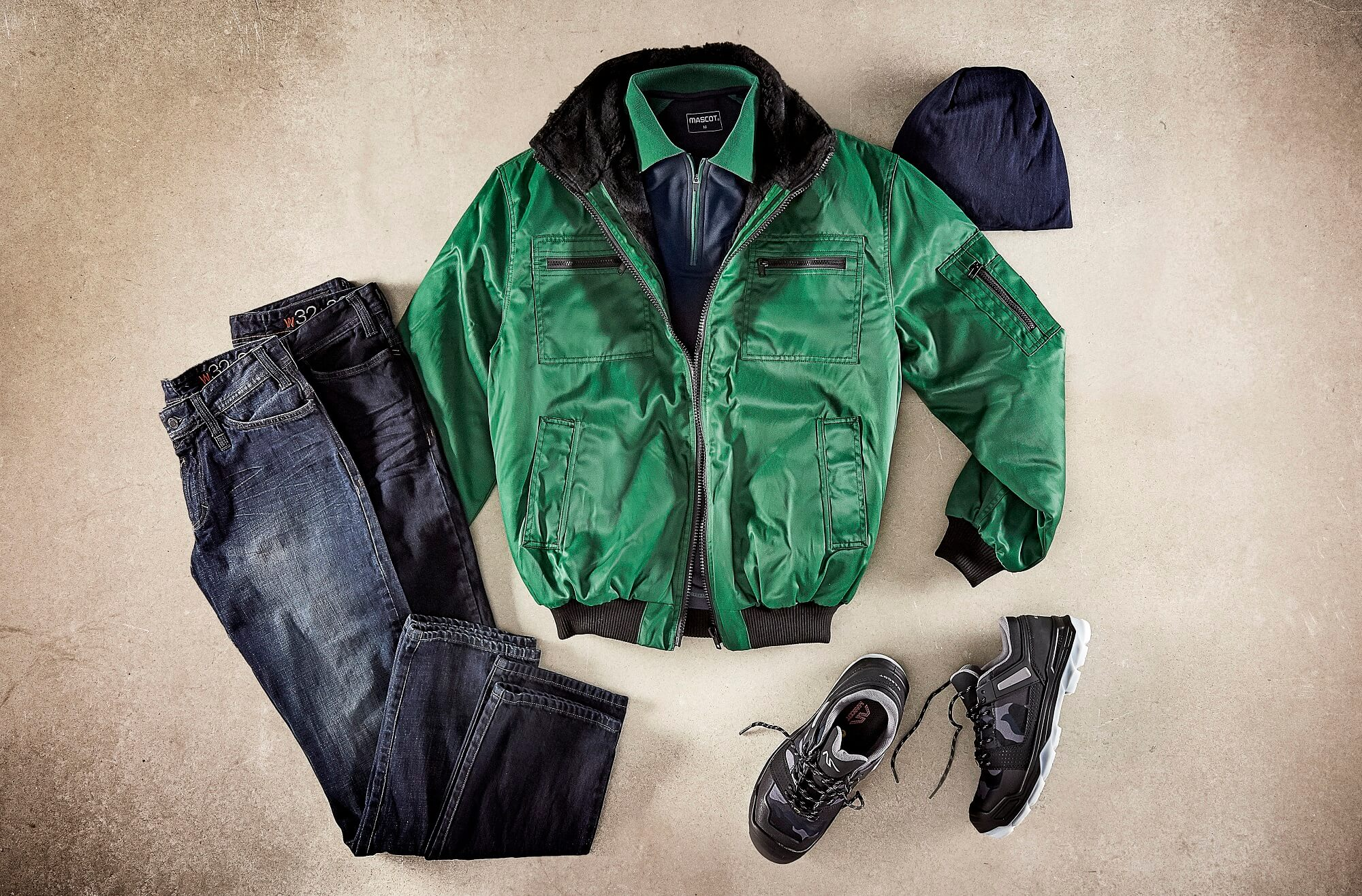 Pilot Jacket, Jeans & Work Polo Shirt - Green - Collage
