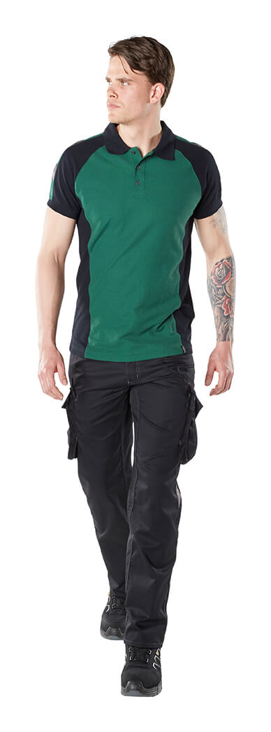 MASCOT® UNIQUE - Model - Green - Work T-shirt & Trousers with thigh pockets