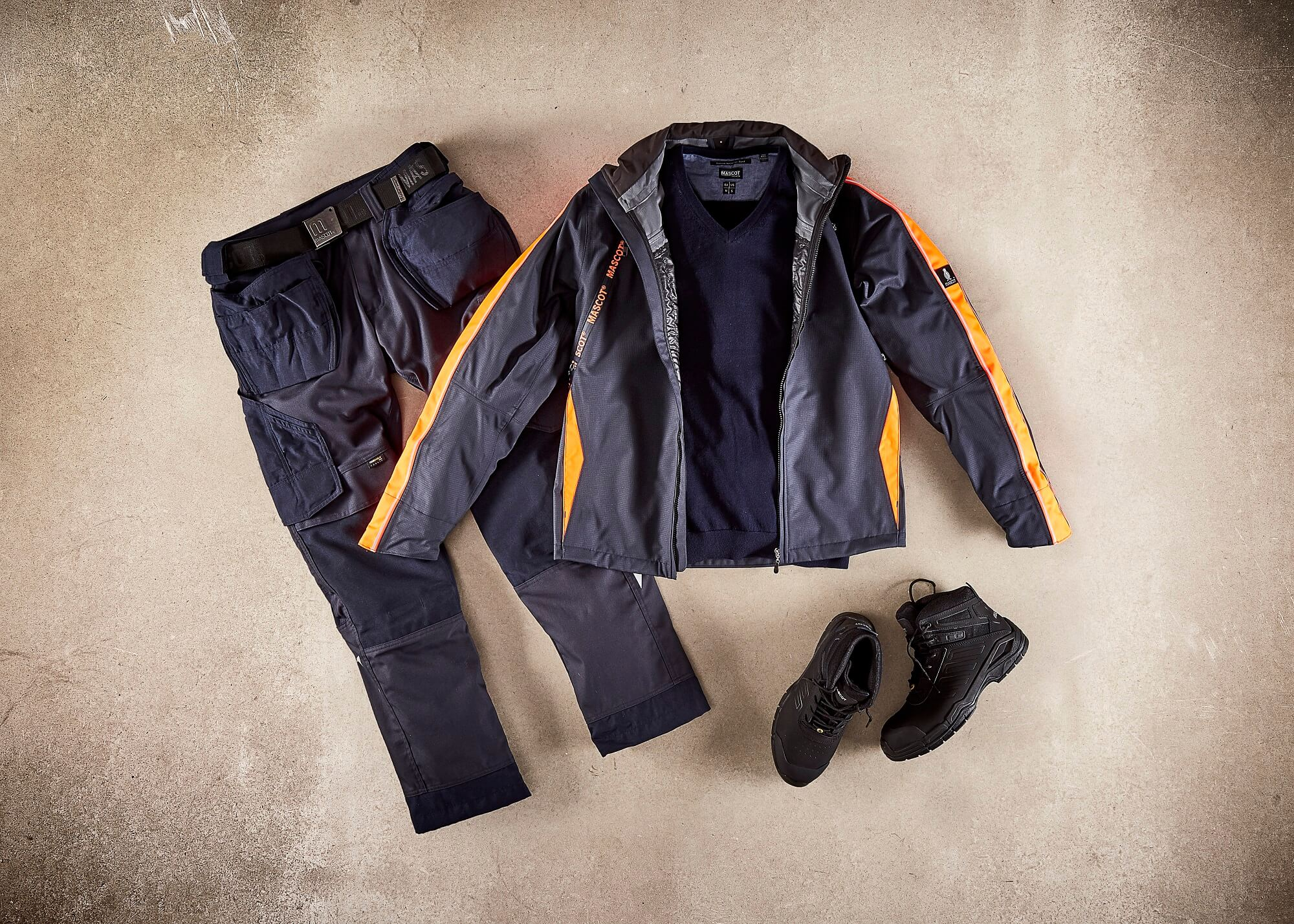 Navy - Outer Shell Jacket, Work Trousers & Safety Boot - Collage
