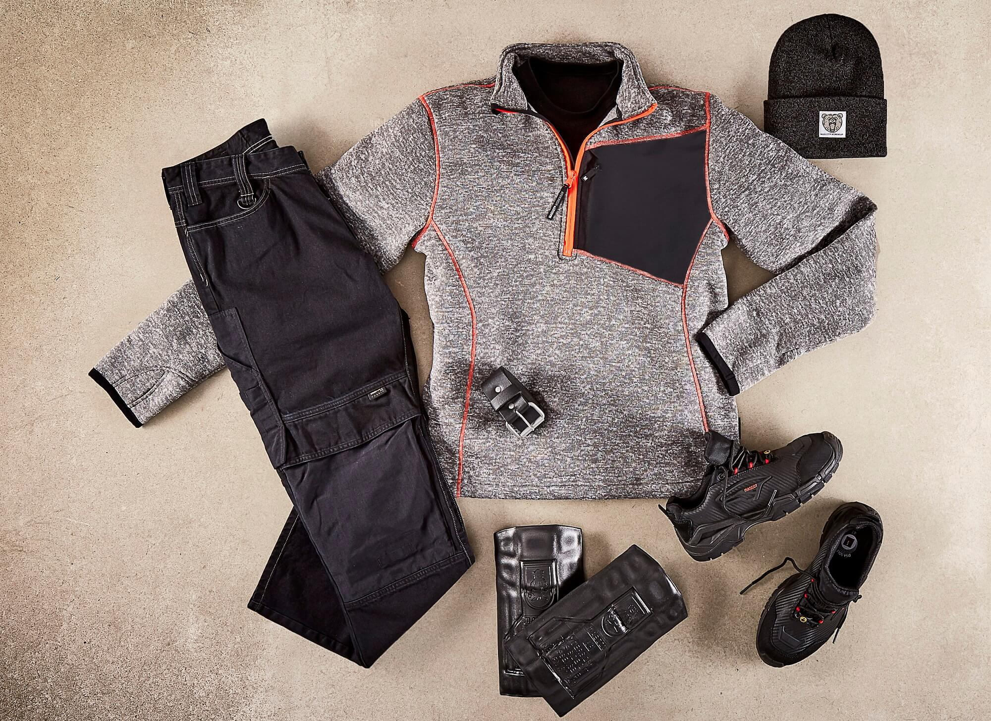 Collage - Knitted Jumper with half zip, Trousers, Safety footwear & Accessories