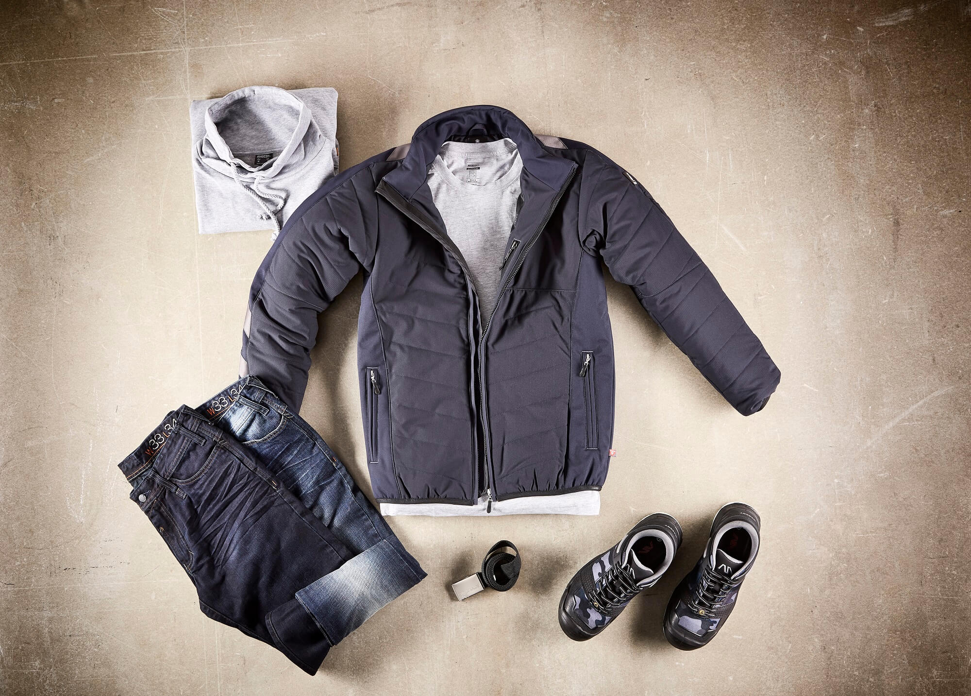 Navy - Winter Jacket, Jeans & Jumper - Collage