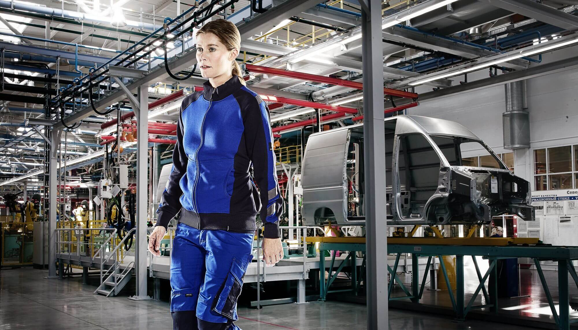 Royal blue - Zipped Jumper & Work Trousers - Woman - MASCOT® UNIQUE Environment