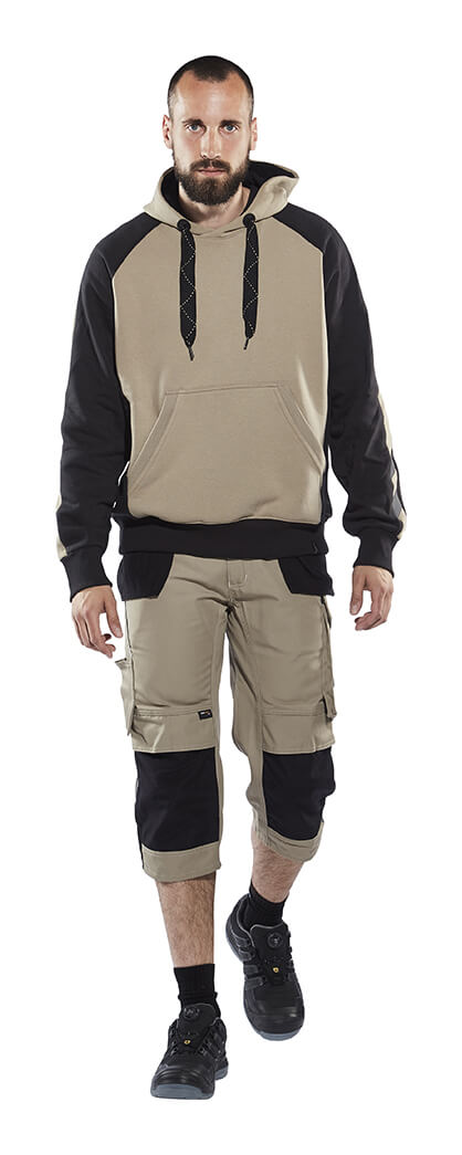 ¾ Work Trousers & Hoodie Khaki - Model - MASCOT® UNIQUE