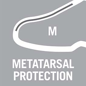 Footwear with metatarsal protection gives the user extra peace of mind as it protects against impact and pressure to the metatarsus. The inbuilt metatarsal protection is made from a specially-developed EVA material, has shock-absorbing properties and feels soft and comfy in the shoe. Moreover, it is designed so that you hardly even notice it is there when walking or working.