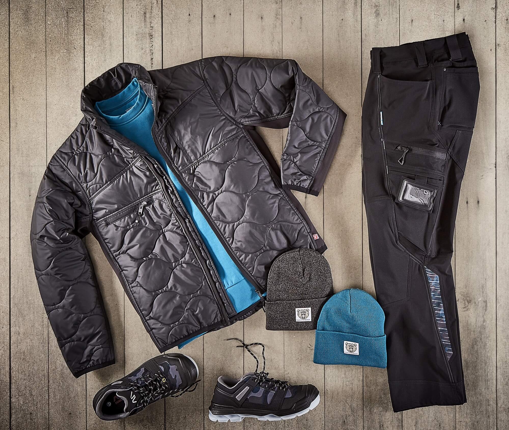 Thermal Jacket, STRETCH Trousers & Knitted Hats - Black - Collage