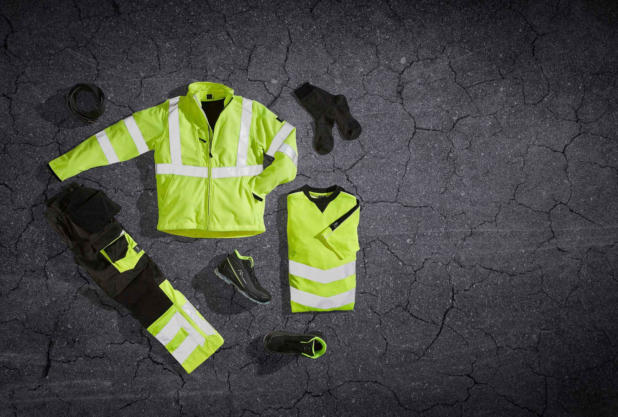 Safety clothing - Fluorescent yellow - Collage