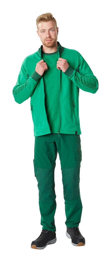 MASCOT® ACCELERATE - Green - Trousers, Zipped Jumper & Work T-shirt - Man