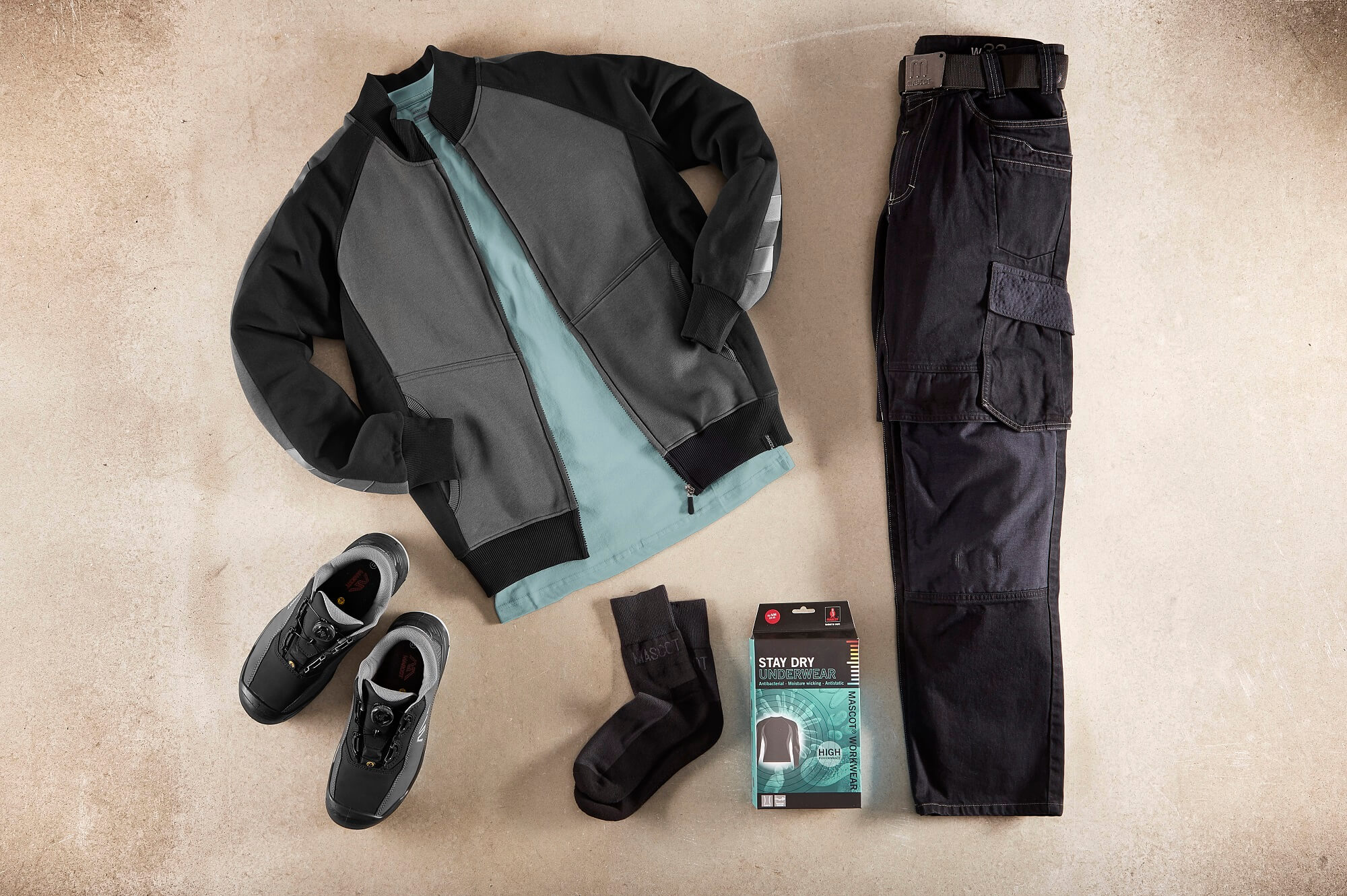 Grey - Zipped Jumper, T-shirt, Work Trousers & Safety Shoe - Collage