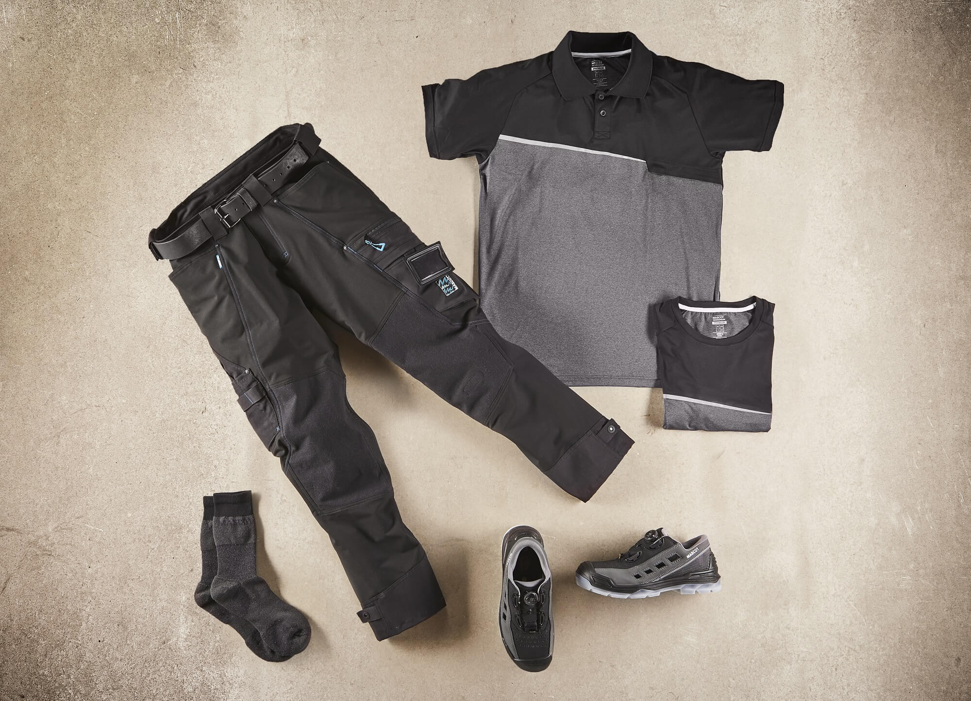 Black - Work Polo Shirt, Trousers, Safety Sandal & Socks - Collage