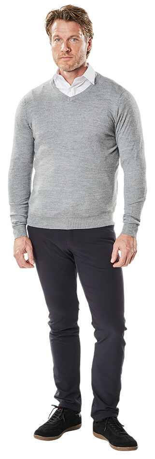 MASCOT® FRONTLINE - Knitted Jumper, Shirt & Trousers - Light grey & Navy - Man
