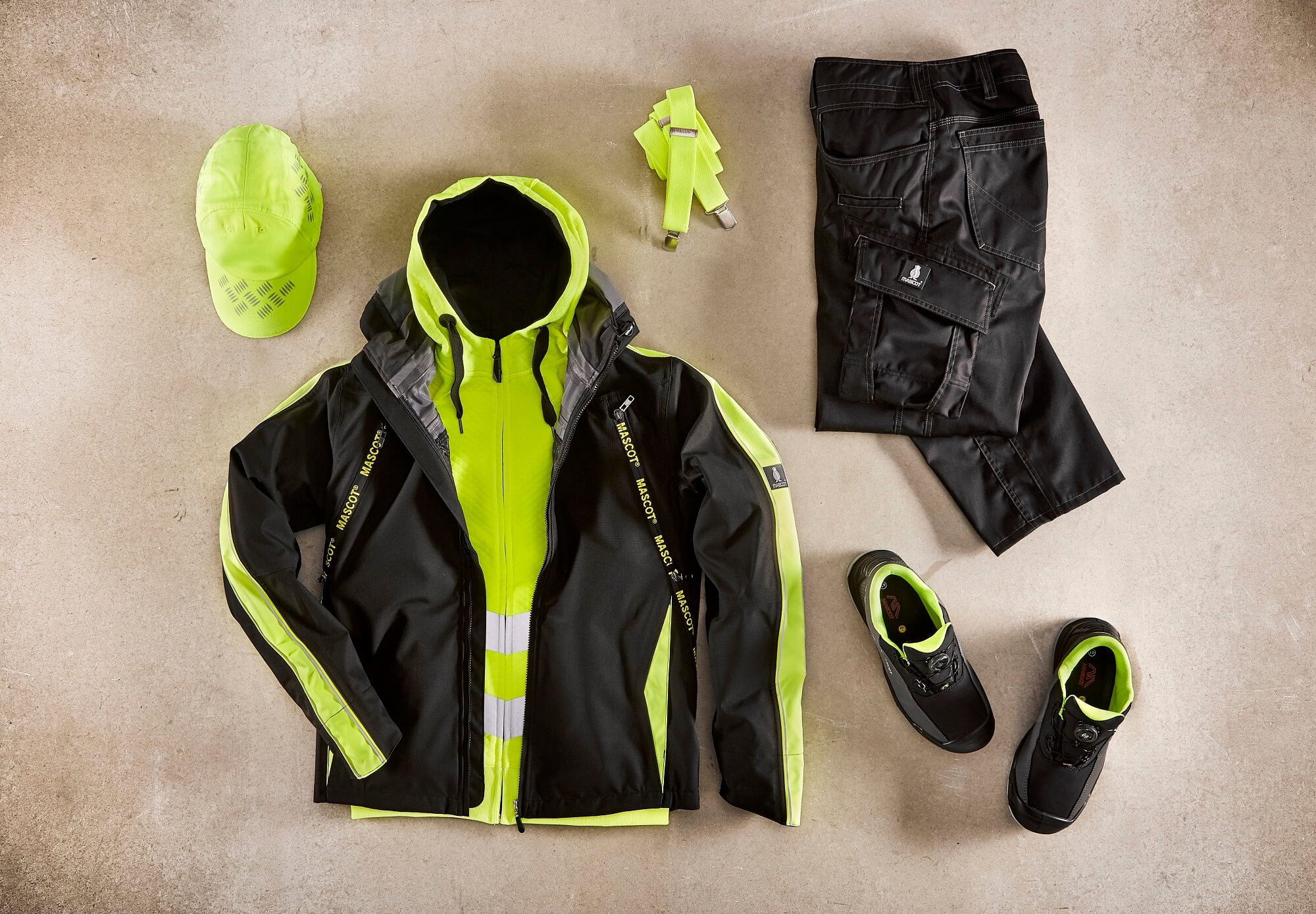 Collage - Fluorescent yellow - Outer Shell Jacket, Hi-vis Jumper, Work Trousers & Cap