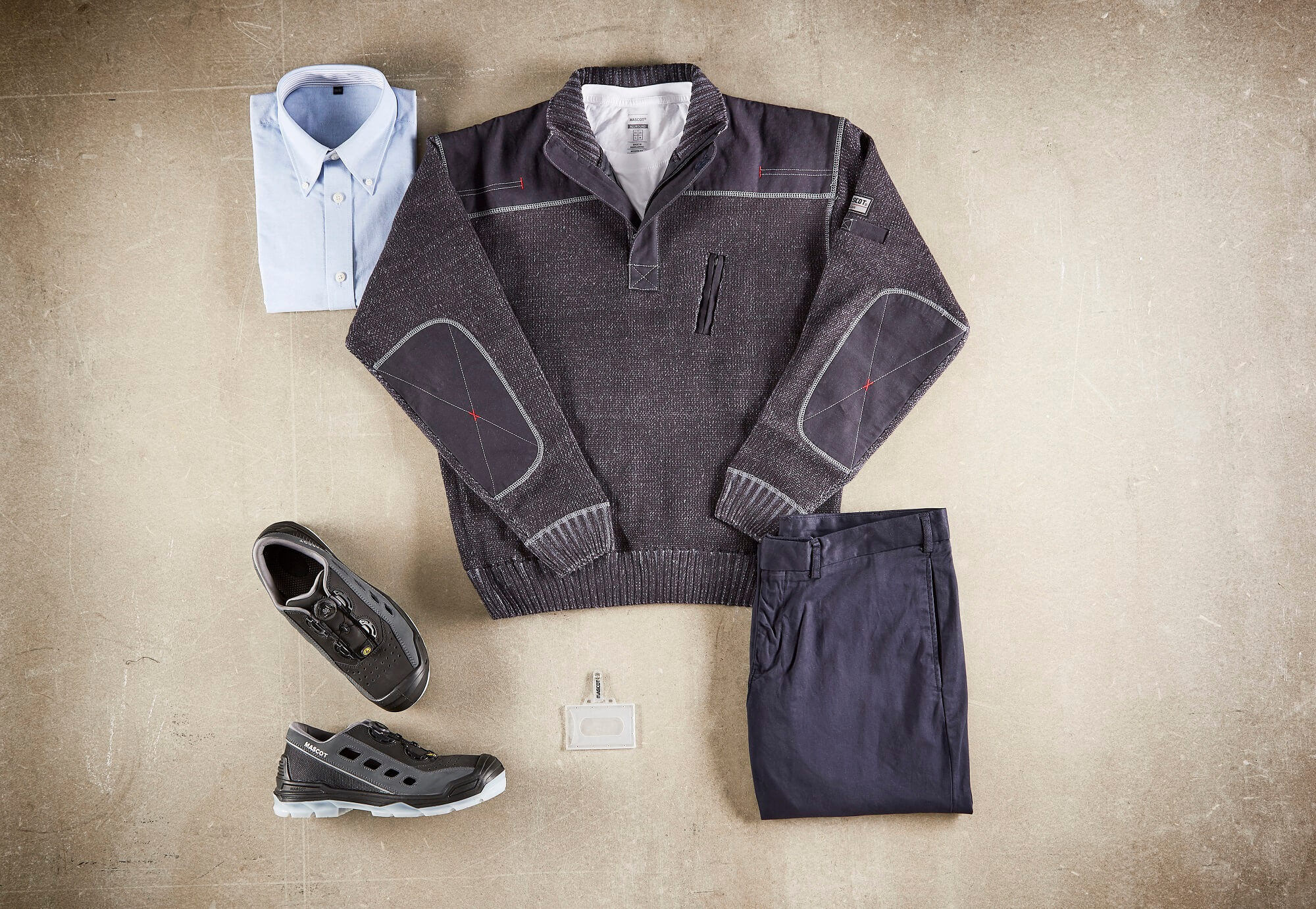 Collage - Knitted Jumper, Shirts, Trousers & Safety Sandal - Navy